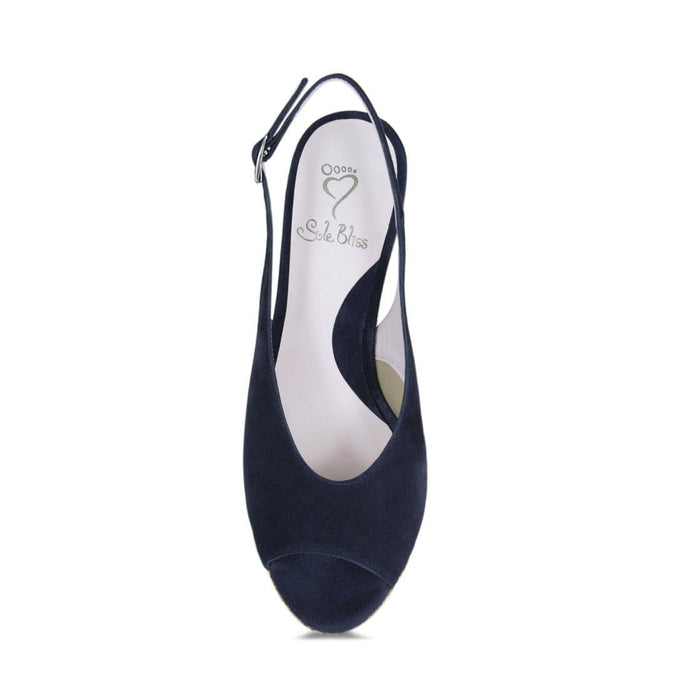 Navy summer wedge sandal for bunions and wide width