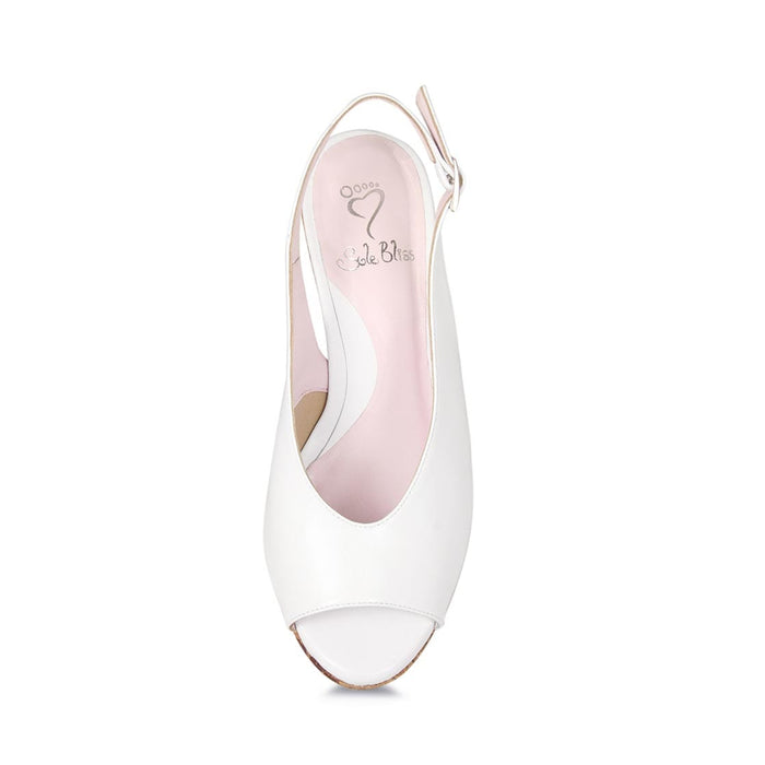 White leather wedge for wide width by Sole Bliss