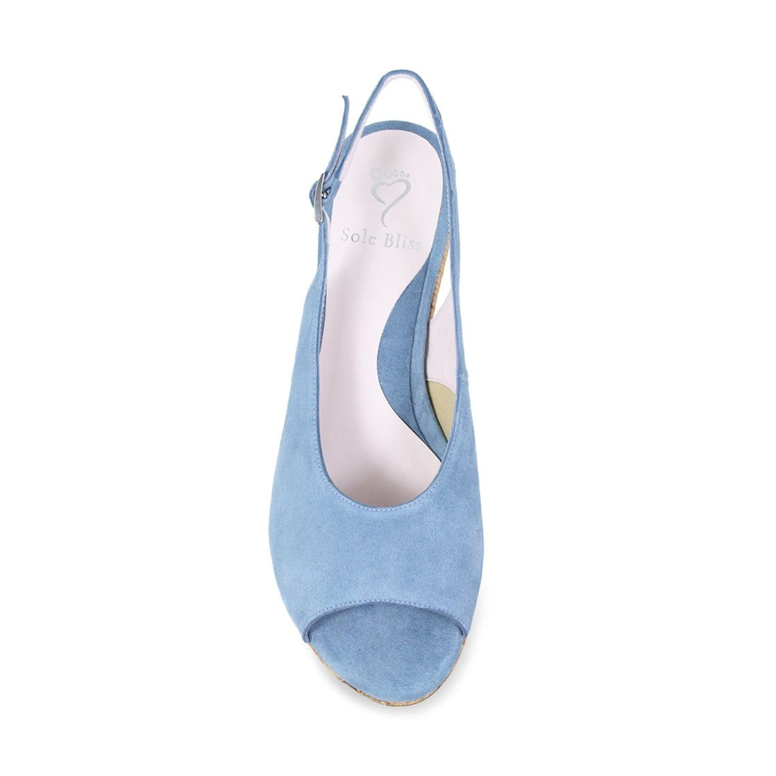 Light Blue Denim Suede Low Wedge Sandals