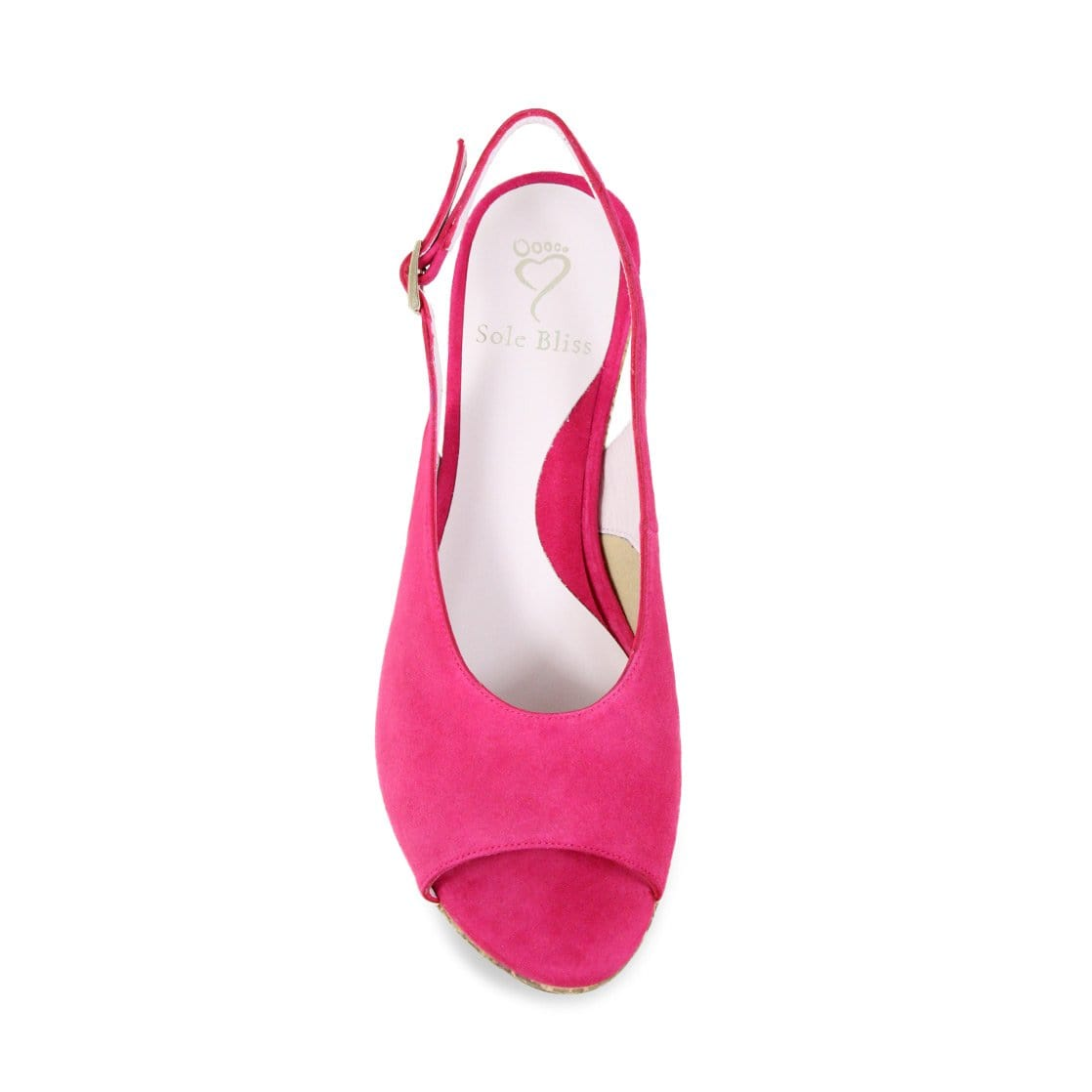 Hot Pink Suede Low Wedge Sandals