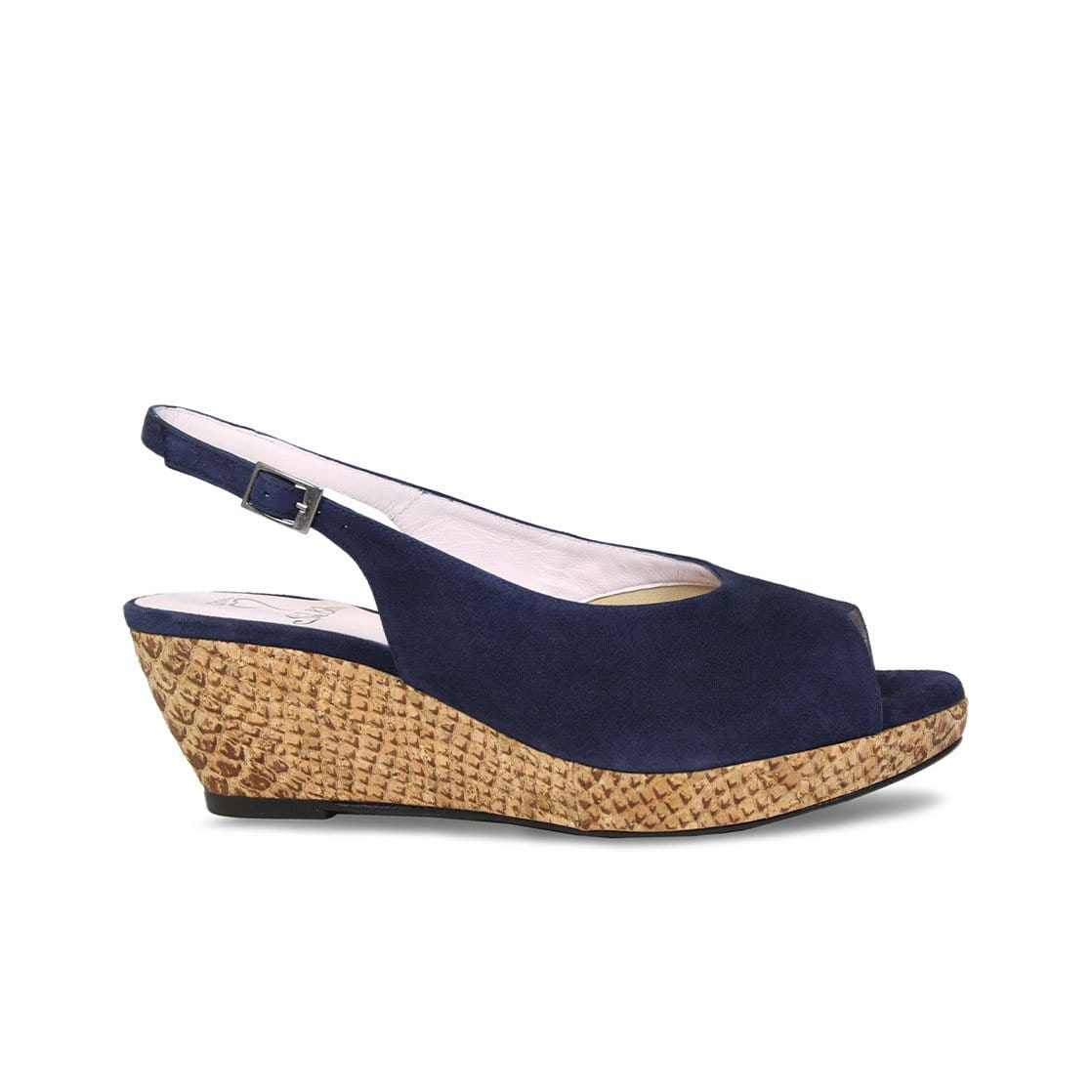 Navy Suede Low Wedge Sandals