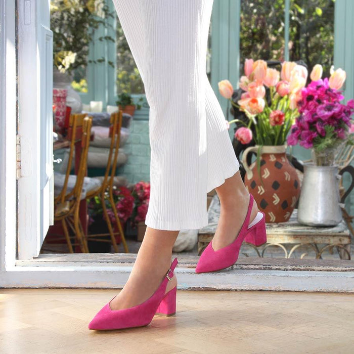 Hot pink suede sling-back for bunions