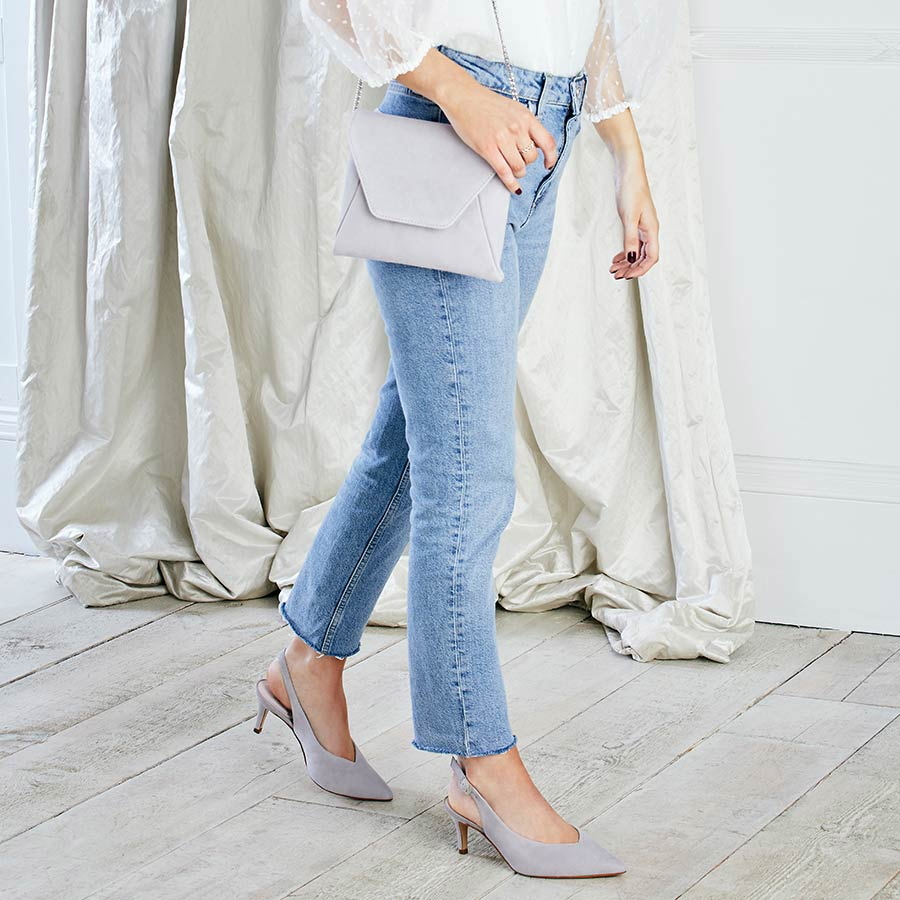 Pale Gray Suede Sling-Back Slim Heels