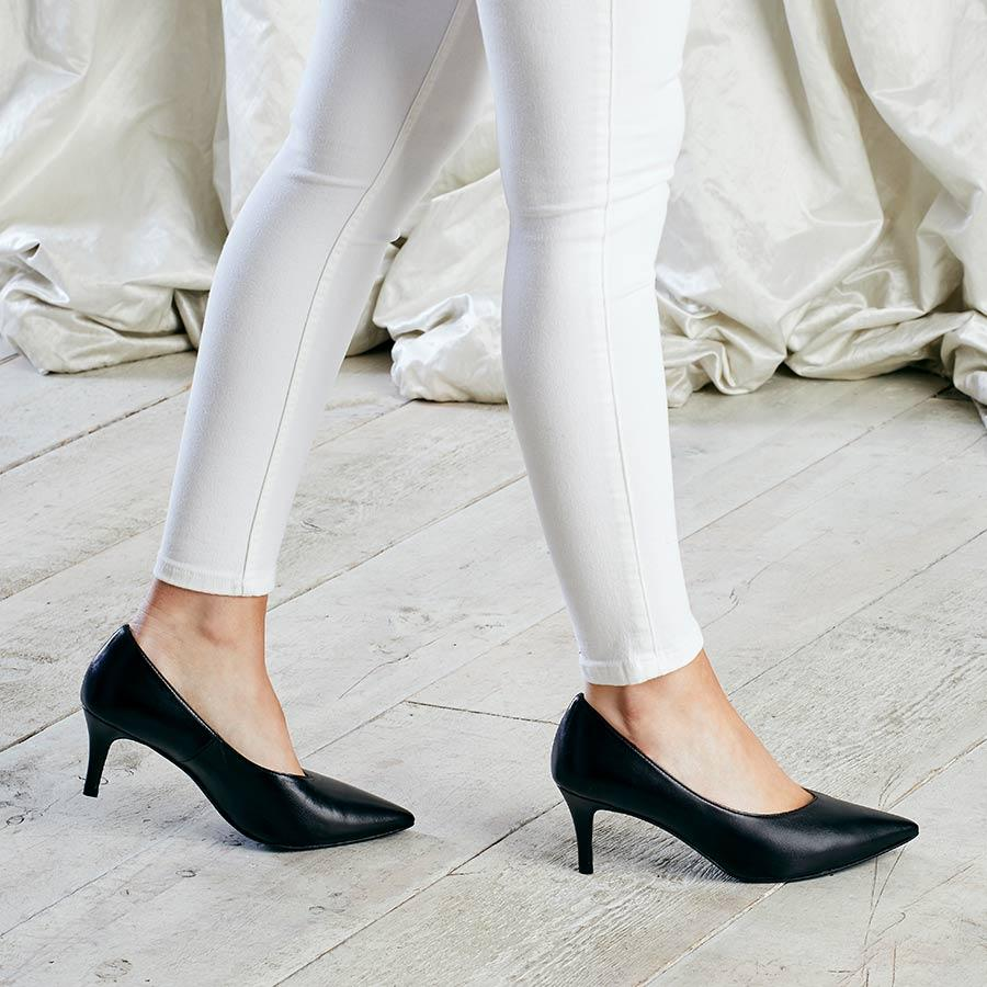 Black Leather Mid-Heel Pumps