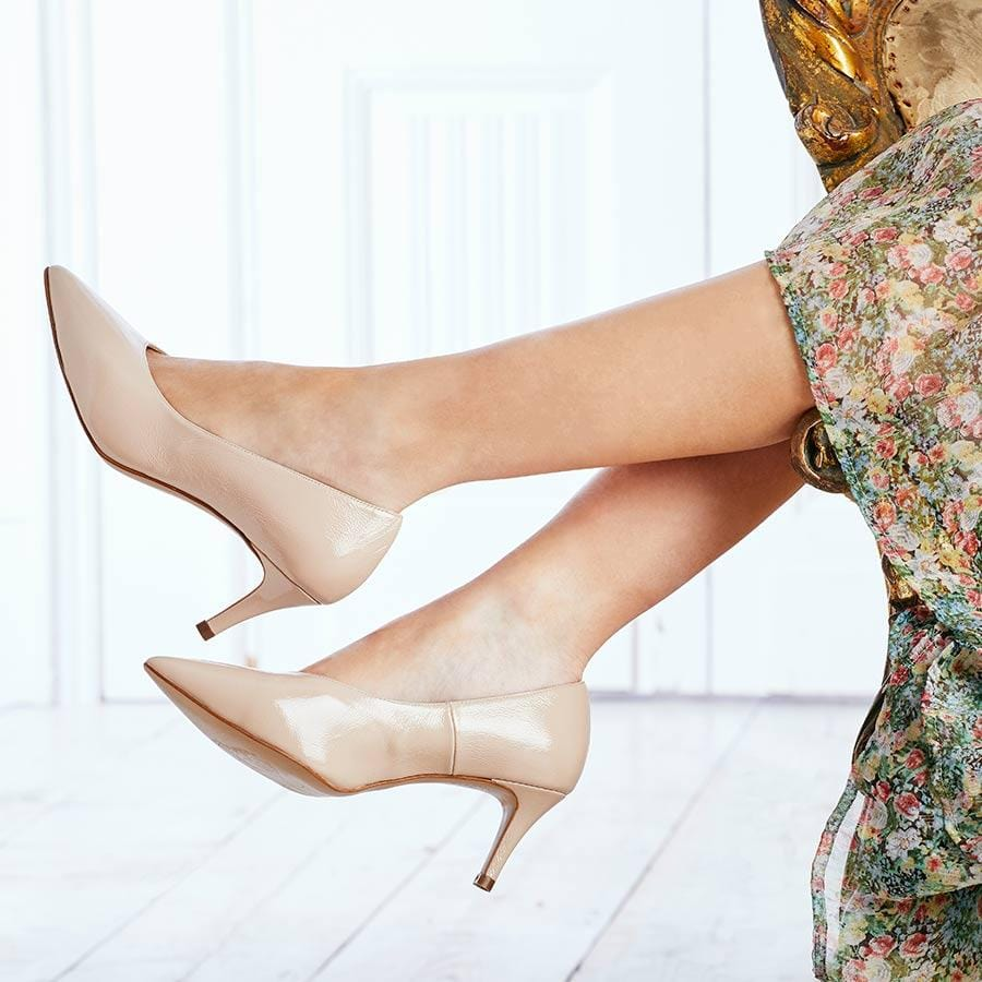 Nude Patent Leather Mid-Heel Pumps