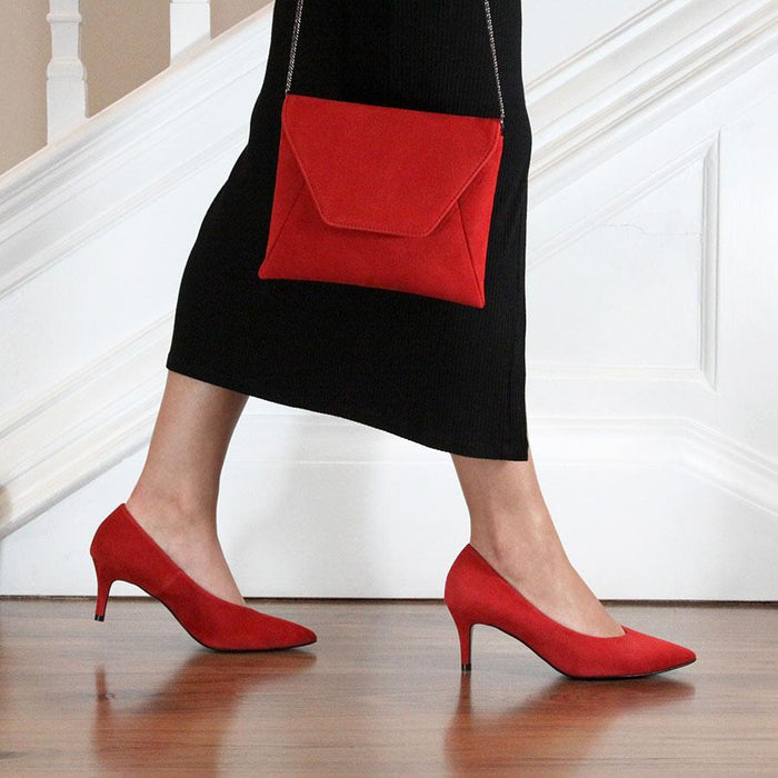 Red suede occasion pumps for bunions with matching handbag