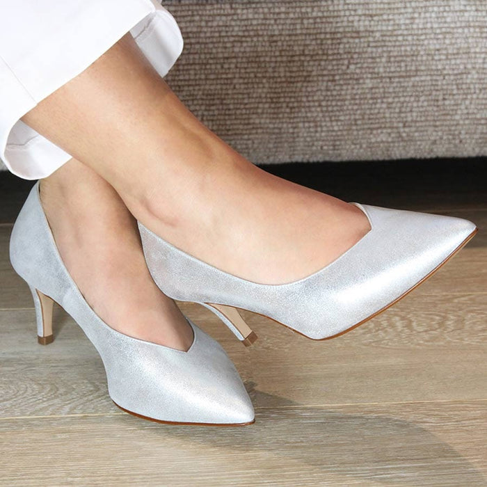 Silver leather wide width bridal pumps for bunions