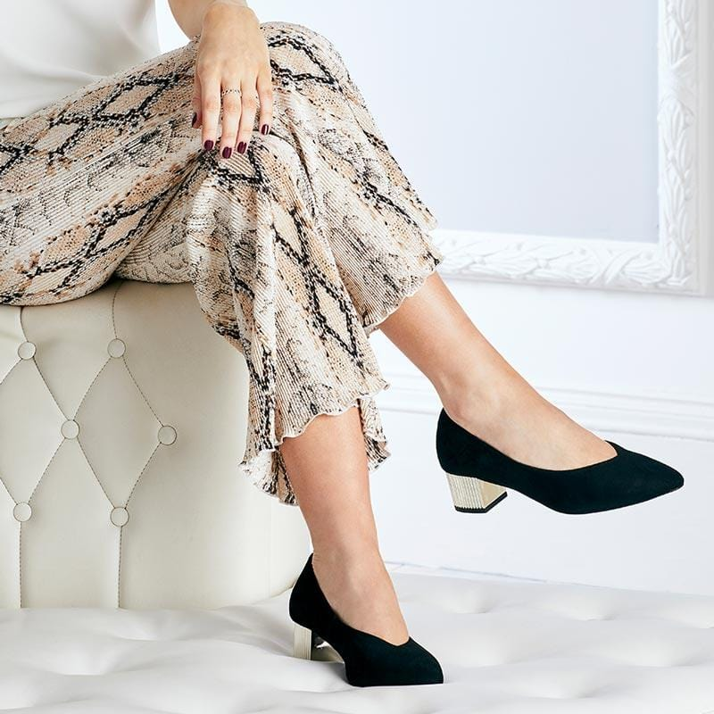 Black Suede Pumps with Metallic Block Heel