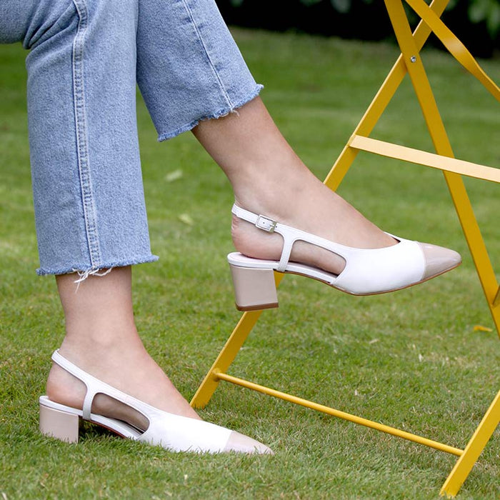 Imogen: White Leather & Pebble Patent