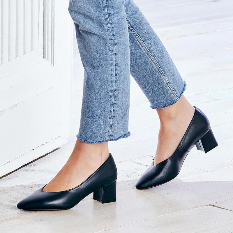 Navy Leather Block Heeled Pumps