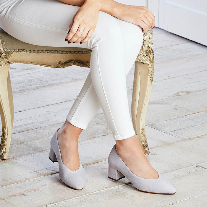 Gray suede block heels for wider feet and bunions