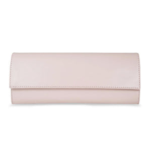 Wedding Blush Pink Leather Clutch Bag with Detachable Chain