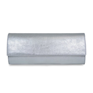Sole Bliss Silver Leather Clutch Bag for Occasions