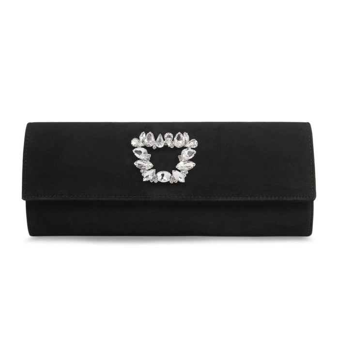 Sole Bliss Glamorous Black Suede Clutch Bag