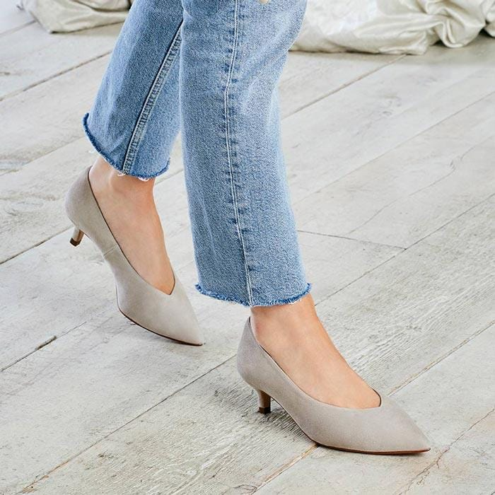 Taupe Suede Low Kitten Heels