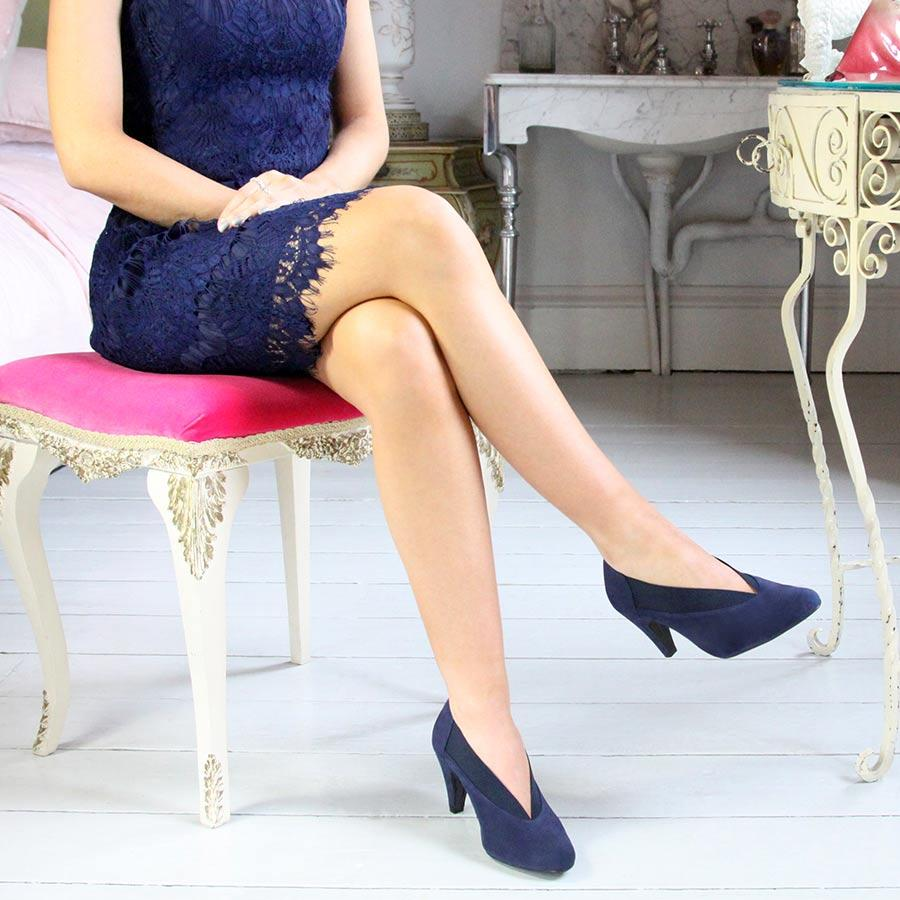 Navy Suede Heels with Elasticated Top Line