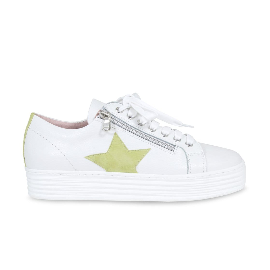 Star: White Leather & Lime