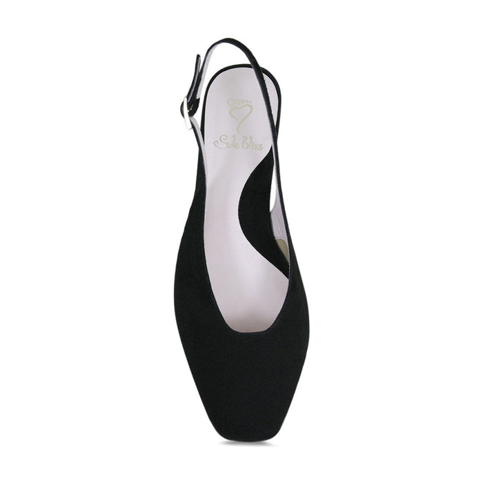 Wider width square toe sling-back party heel for bunions