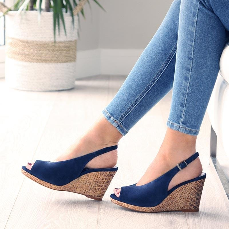 Navy Suede Peep-Toe Wedge Sandals