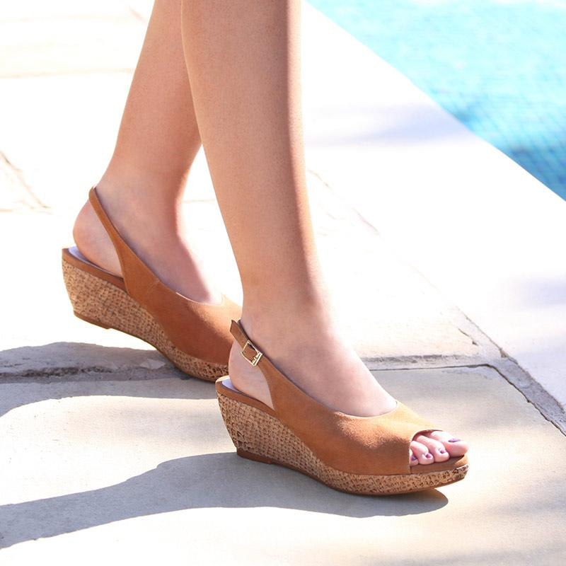 Tan Suede Low Wedge Sandals