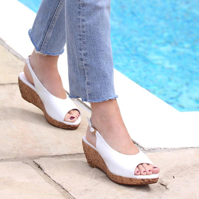 White Leather Low Wedge Sandals