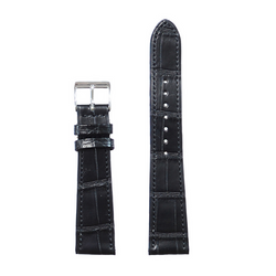 Manufaktur Uhrarmband, Louisiana Alligator Full Cut - Black- Made in Germany