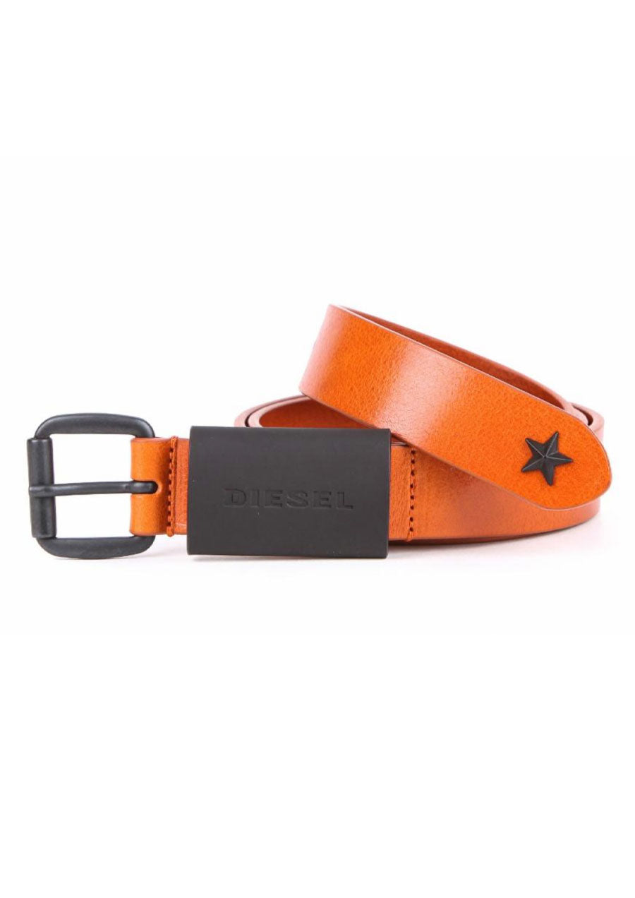 Star Stud Leather Belt (Tan)