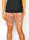 Retro Pink Floral Stretch Twill Walk Short