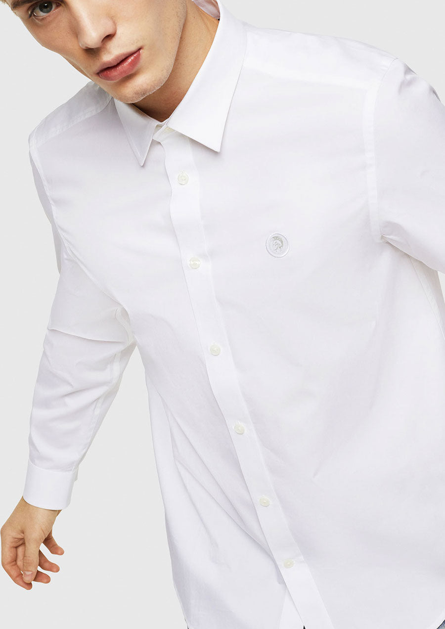 Bill Poplin Button Down Shirt (White)