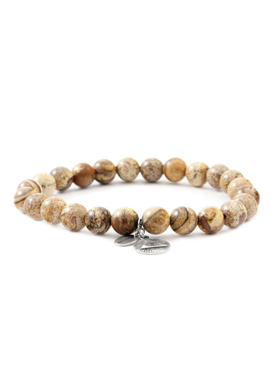 Jasper Beaded Stretch Bracelet #1552b