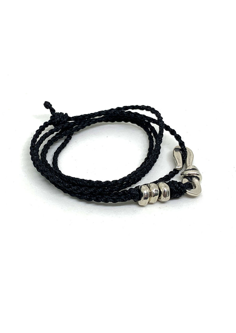 Black Rope Sterling Silver Hook Bracelet