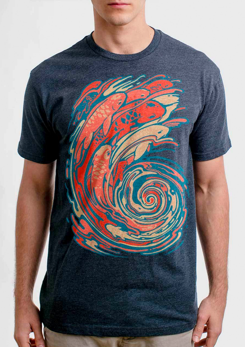 Swirly Koi Tee (Heather Navy)