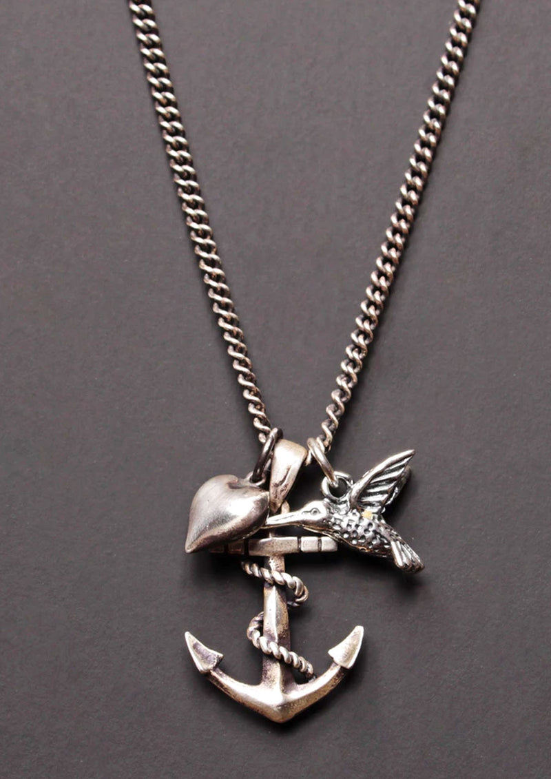 Anchor, Heart & Hummingbird Necklace
