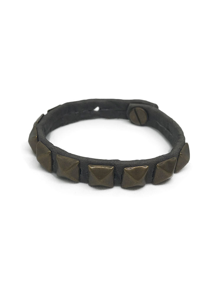 Rockstar Pyramid Leather Bracelet