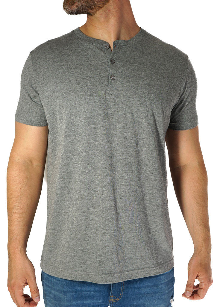 Heather Grey Henley Tee