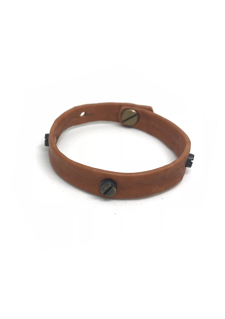 Screw Stud Leather Bracelet