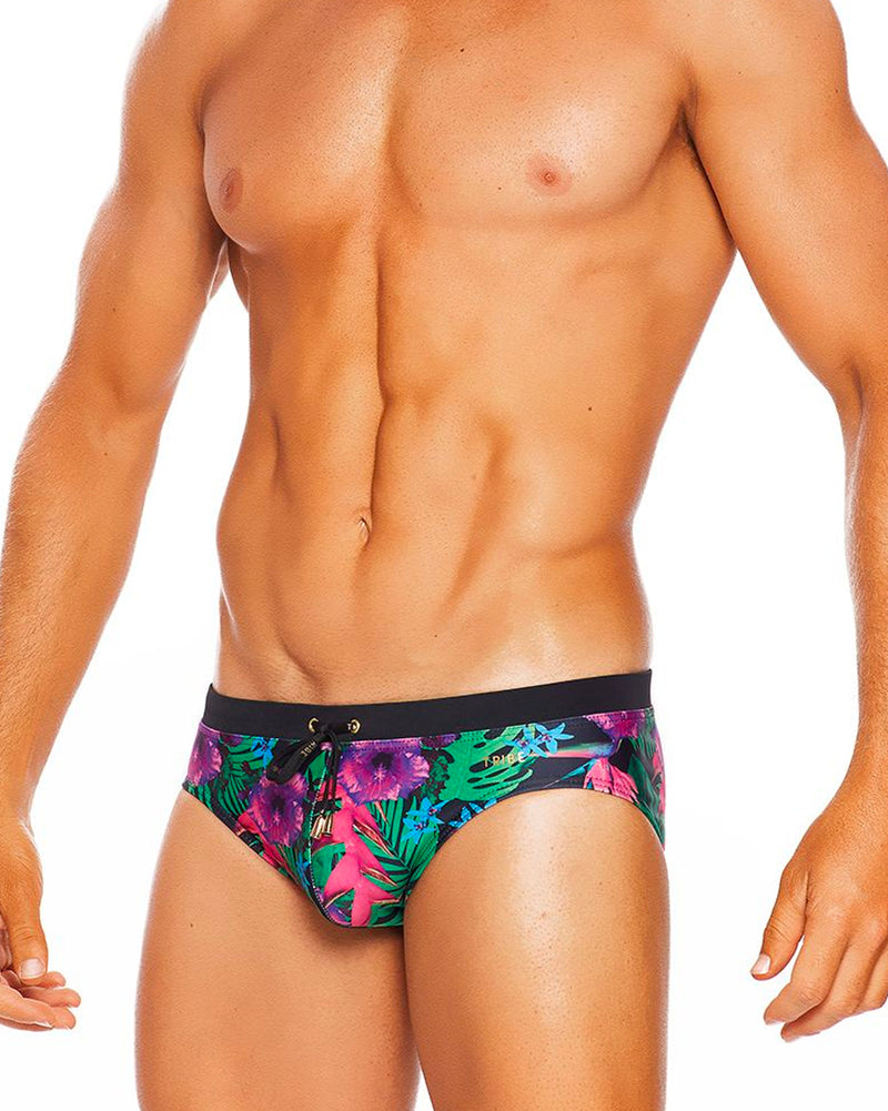 Tahiti Lo Rise Swim Brief (Black Floral)