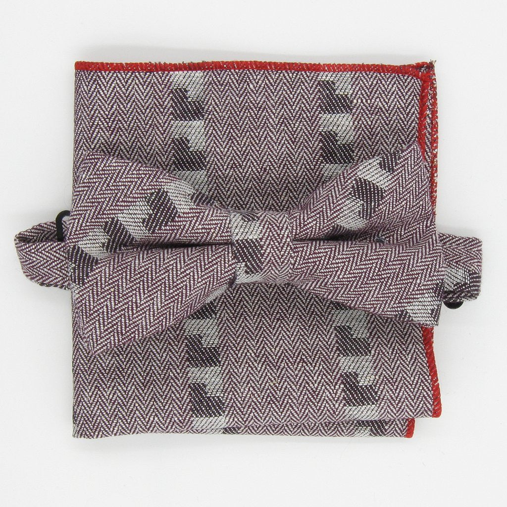 Red Interrupted Herringbone Bowtie Set