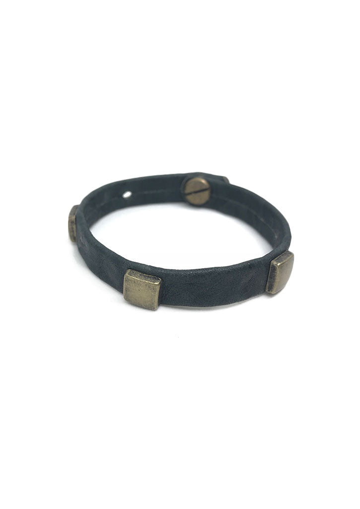 Abundance Square Stud Leather Bracelet