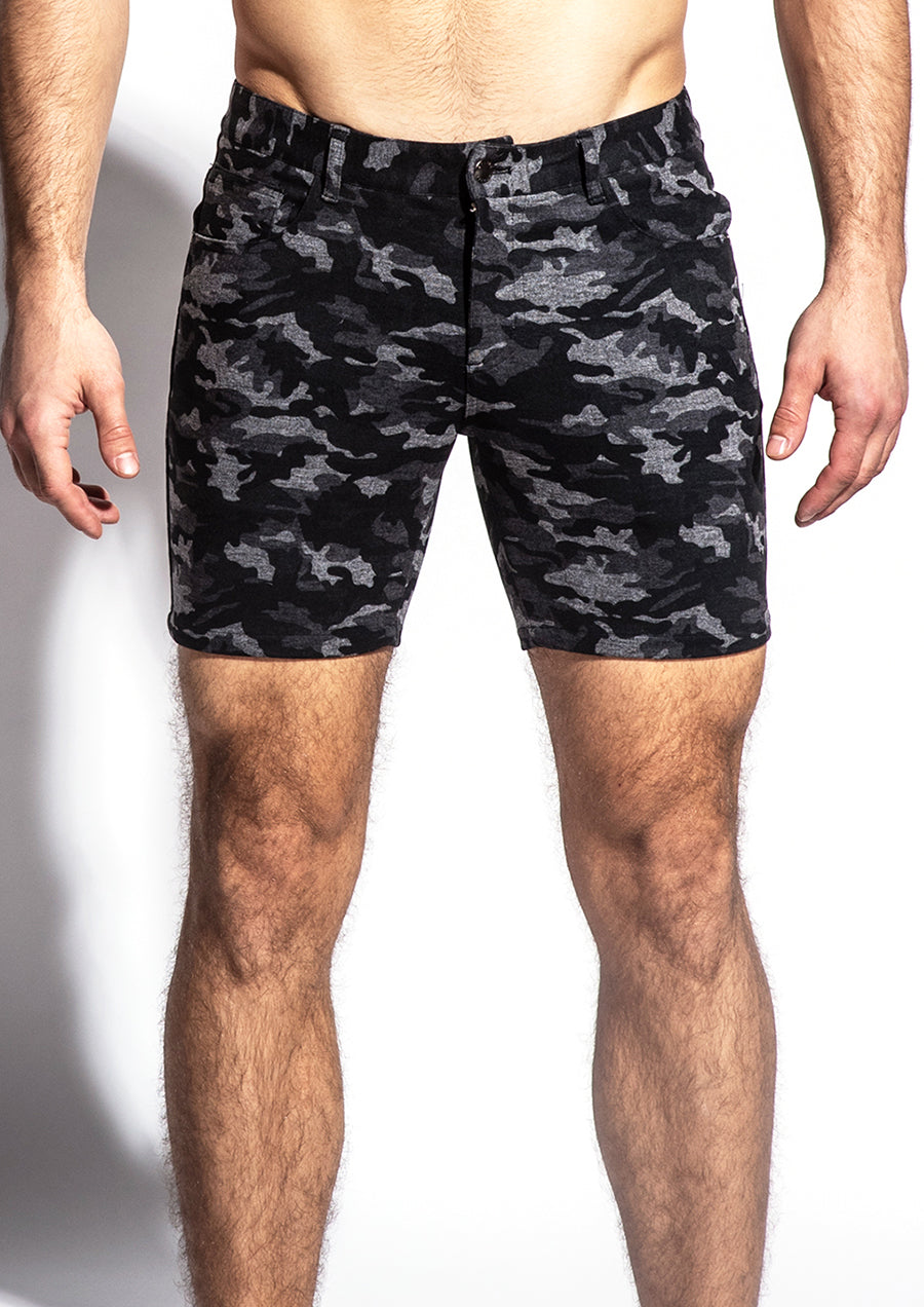 "Stretch Knit Shorts (5"" inseam) (Grey Camo)"