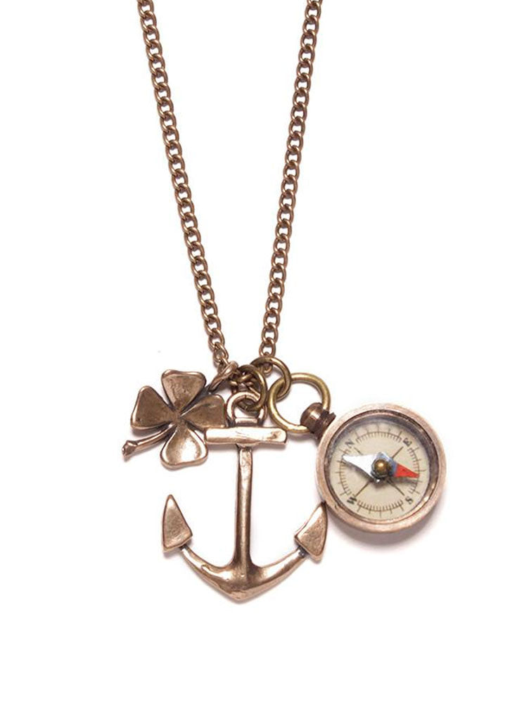 Bronze Anchor, Miniature Compass and Four Leaf Clover Necklace