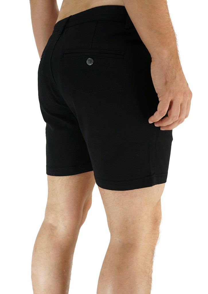 "Trouser Cut Shorts 4"" Inseam (Black)"