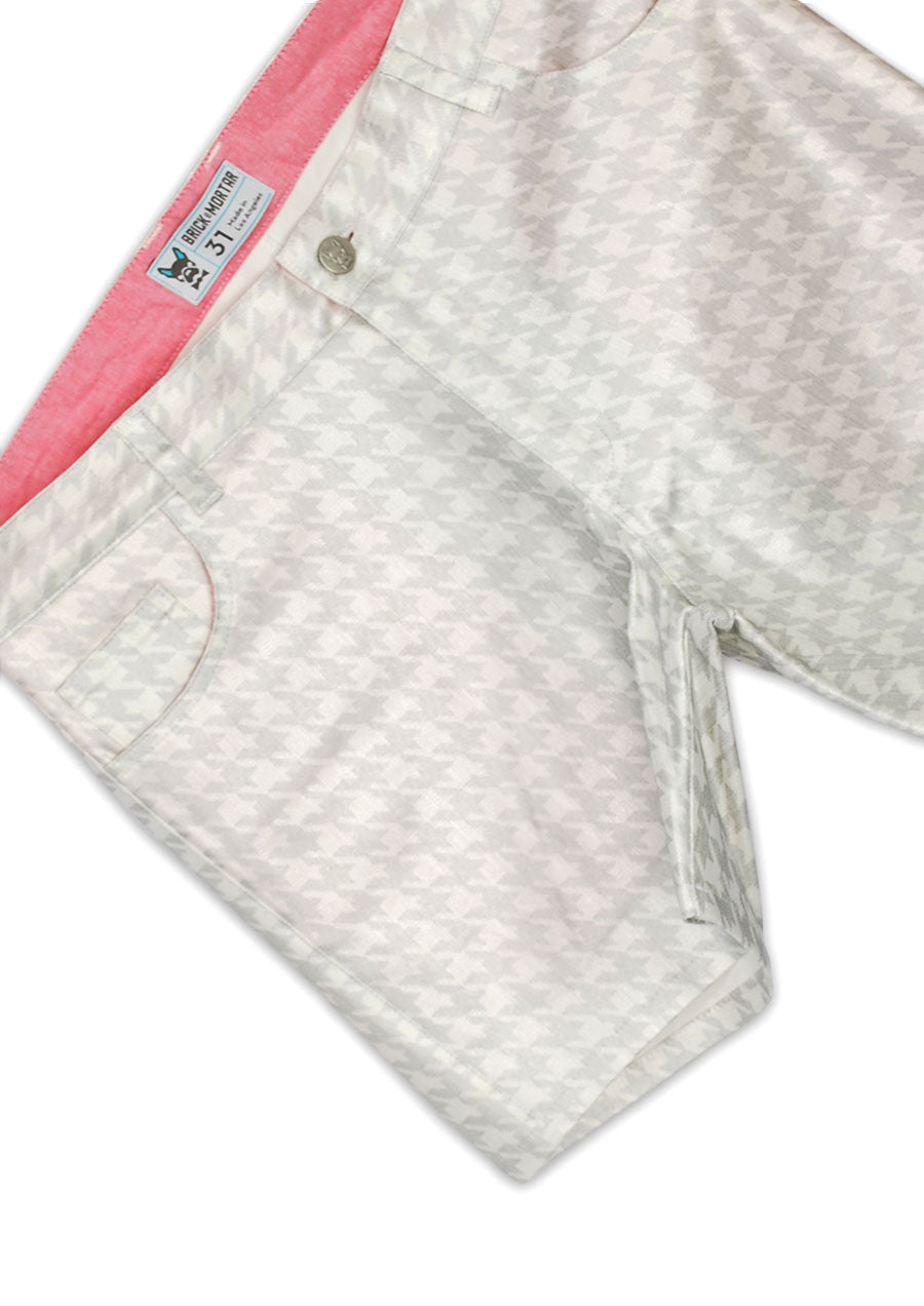 "5-Pocket Stretch Twill Short Shorts - 5"" Inseam (Metallic Houndstooth)"
