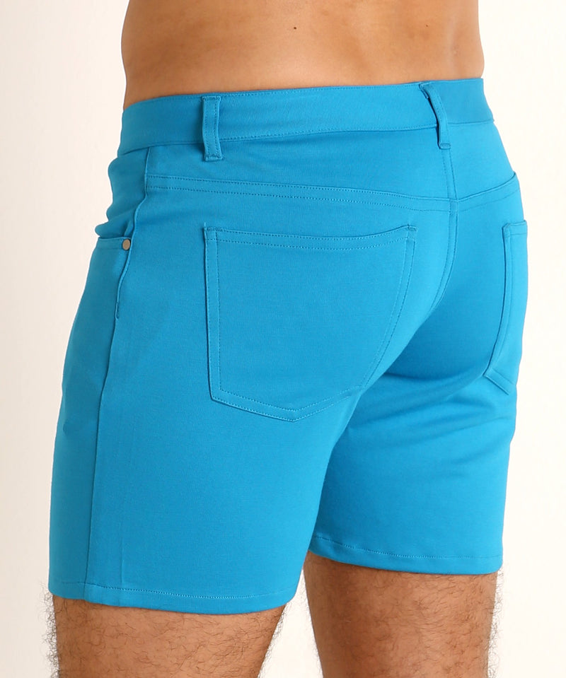 "Stretch Knit Shorts (5"" inseam) (Cyan)"