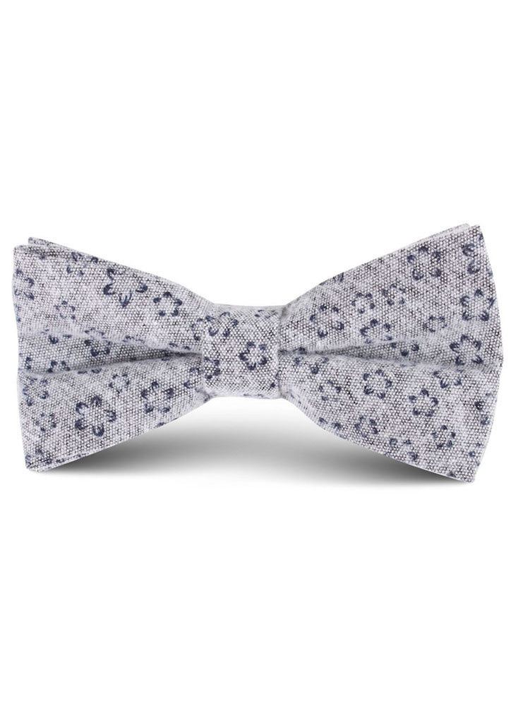 Denim Floral Bow Tie (Grey)