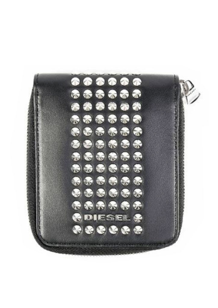 Studded Leather Zip Wallet (Black)
