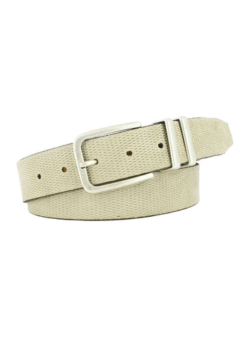Diamond Embossed Leather Belt (Cream)