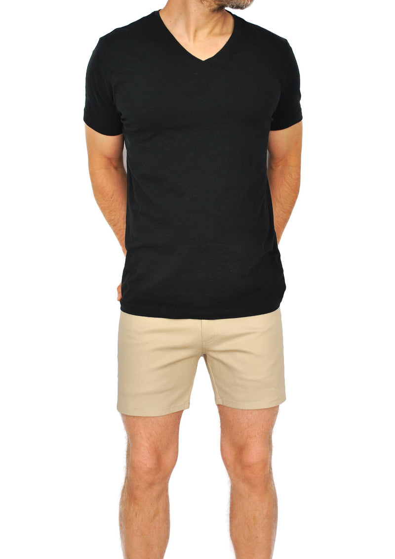 "5-Pocket Stretch Twill Short Shorts - 5"" Inseam (Tan)"