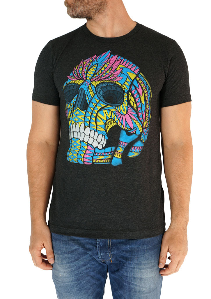 Multicolor Skull Tee (Charcoal)