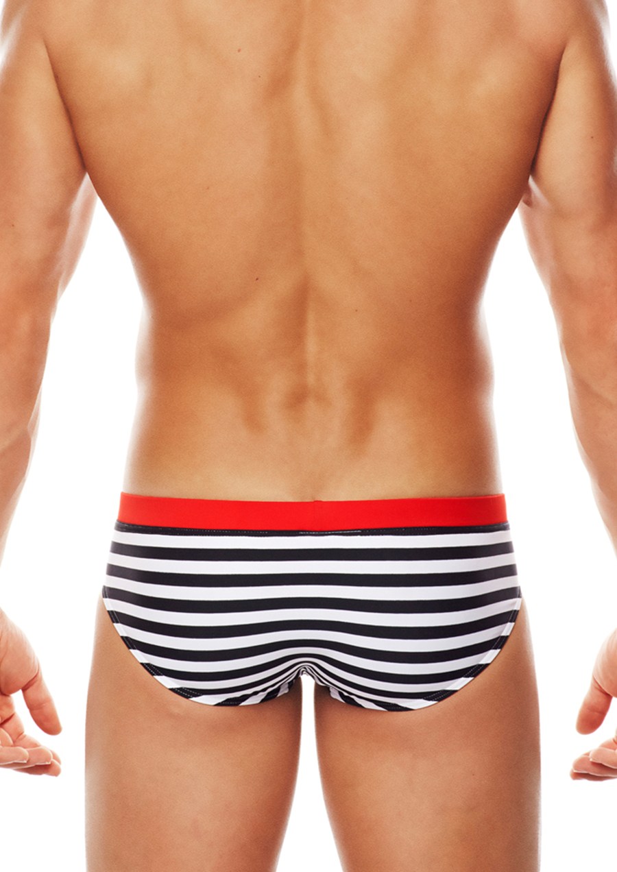 Riviera LoRise Swim Brief (Black/White/Red)